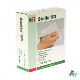 Kompres Steriel  Stel 3D 7,5X7,5 12L 15 stuk